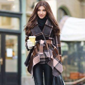 NWT Chic Wish Prairie Check Rabato Coat
